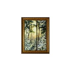 Картина на холсте маслом солнце и снег